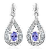 Premium AAA Tanzanite, Cambodian Zircon Platinum Over Sterling Silver Dangle Earrings TGW 0.86 cts.