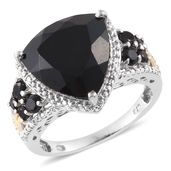 Australian Black Tourmaline Ring in 14K YG and Platinum Over Sterling Silver Total Gem Stone Weight 11.56 Carat (Size 7.0)