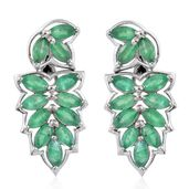 Kagem Zambian Emerald Platinum Over Sterling Silver Earrings TGW 3.36 cts.