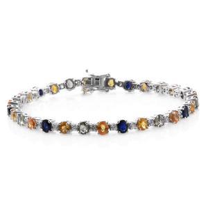 Multi Sapphire, Cambodian Zircon Platinum Over Sterling Silver Bracelet (8.00 In) TGW 14.32 cts.