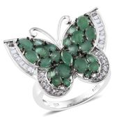 Kagem Zambian Emerald, White Topaz Platinum Over Sterling Silver Butterfly Ring (Size 7.0) TGW 4.86 cts.