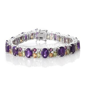 Amethyst, Multi Gemstone Platinum Over Sterling Silver Oval Cluster Bracelet (7.50 In) TGW 34.70 cts.