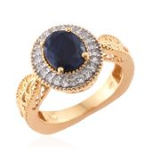 Kanchanaburi Blue Sapphire, Cambodian Zircon 14K YG Over Sterling Silver Ring (Size 7.0) TGW 3.79 cts.