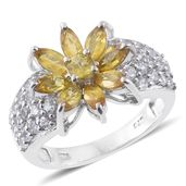 Yellow Sapphire, Cambodian Zircon Platinum Over Sterling Silver Ring (Size 9.0) TGW 4.02 cts.