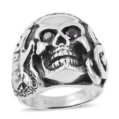 Simulated Black Diamond Black Oxidized Stainless Steel Skull Men's Ring (Size 13.0) TGW 0.50 cts.