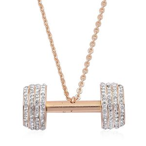 Austrian Crystal ION Plated YG Stainless Steel Dumbbell Necklace (20 in)