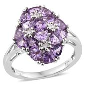 Rose De France Amethyst, Cambodian Zircon Platinum Over Sterling Silver Floral Cluster Ring (Size 10.0) TGW 3.30 cts.