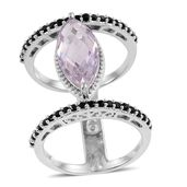 Rose De France Amethyst, Thai Black Spinel Platinum Over Sterling Silver Double Band Ring (Size 7.0) TGW 5.30 cts.