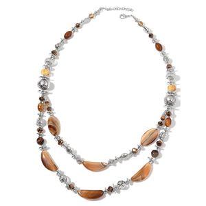Brown Agate, Multi Gemstone Silvertone Drape Necklace (33 in) TGW 500.00 cts.