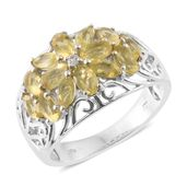 Canary Opal, Cambodian Zircon Platinum Over Sterling Silver Ring (Size 6.0) TGW 1.79 cts.