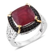 Niassa Ruby, Thai Black Spinel Black Rhodium, 14K YG and Platinum Over Sterling Silver Ring (Size 6.0) TGW 8.63 cts.