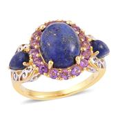 Lapis Lazuli, Amethyst 14K YG Over Sterling Silver Ring (Size 8.0) TGW 7.95 cts.