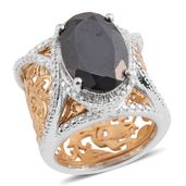 Thai Black Spinel 14K YG and Platinum Over Sterling Silver Ring (Size 6.5) TGW 7.25 cts.