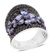 Tanzanite, Thai Black Spinel Platinum Over Sterling Silver Floral Concave Ring (Size 6.5) TGW 6.94 cts.