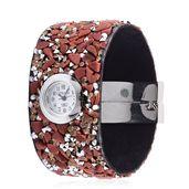 STRADA Goldstone, Champagne Austrian Crystal Japanese Movement Bracelet Watch in Silvertone TGW 107.50 cts.