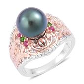 Tahitian Pearl, Burmese Ruby, Russian Diopside 14K RG Over and Sterling Silver Ring (Size 8.0) TGW 0.20 cts.