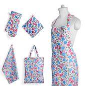 Multi Color Floral Printed Pattern Cotton Kitchen Set (Apron, Glove, CM Pot Holder, Towel, Bag)