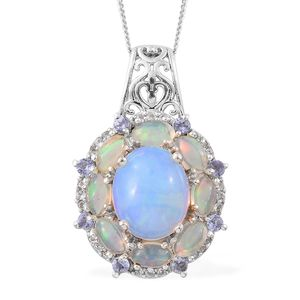 Ethiopian Welo Opal, Tanzanite, Cambodian Zircon Platinum Over Sterling Silver Halo Azure Pendant With Chain (20 in) TGW 4.62 cts.