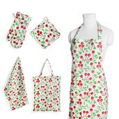 Cherry Red Printed Cotton Kitchen Set (Apron, Glove, CM Pot Holder, Towel, Bag)