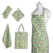 Green Holly Leaves Printed Cotton Kitchen Set (Apron, Glove, CM Pot Holder, Towel, Bag)