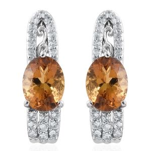 Marialite, Cambodian Zircon Platinum Over Sterling Silver Reverse J-Hoop Earrings TGW 2.34 cts.