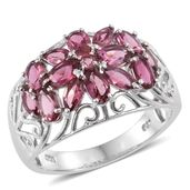 Morro Redondo Pink Tourmaline Platinum Over Sterling Silver Floral Ring (Size 6.0) TGW 2.77 cts.