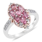 Morro Redondo Pink Tourmaline, Cambodian Zircon 14K RG and Platinum Over Sterling Silver Ring (Size 6.0) TGW 1.75 cts.