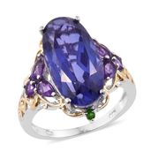 Playa Quartz, Amethyst, Russian Diopside 14K YG and Platinum Over Sterling Silver Ring (Size 10.0) TGW 11.36 cts.