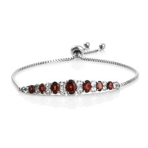TLV Mozambique Garnet, White Topaz Stainless Steel Magic Ball Bar Bracelet (Adjustable) TGW 4.66 cts.