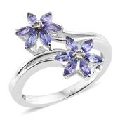 Premium AAA Tanzanite, Diamond Accent Platinum Over Sterling Silver Bypass Flower Ring (Size 8.0) TGW 1.13 cts.