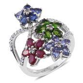 Multi Gemstone Platinum Over Sterling Silver Floral Split Ring (Size 5.0) TGW 4.79 cts.