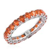 Salamanca Fire Opal Platinum Over Sterling Silver Eternity Ring (Size 6.0) TGW 2.48 cts.