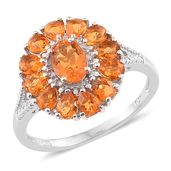 Salamanca Fire Opal Platinum Over Sterling Silver Floral Ring (Size 6.0) TGW 1.70 cts.