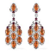 Salamanca Fire Opal, Orissa Rhodolite Garnet Platinum Over Sterling Silver Earrings TGW 2.84 cts.