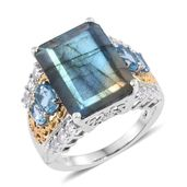 Malagasy Labradorite, Electric Blue Topaz, White Topaz 14K YG and Platinum Over Sterling Silver Ring (Size 11.0) TGW 16.88 cts.
