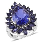 Playa Quartz, Catalina Iolite Platinum Over Sterling Silver Elongated Ring (Size 7.0) TGW 16.15 cts.
