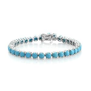 Arizona Sleeping Beauty Turquoise Platinum Over Sterling Silver Round Tennis Bracelet (7.50 In) TGW 15.00 cts.