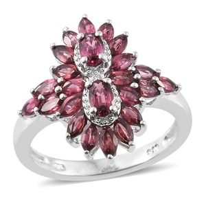 Burmese Red Spinel Platinum Over Sterling Silver Ring (Size 7.0) TGW 2.40 cts.