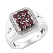 Burmese Red Spinel, Cambodian Zircon Sterling Silver Men's Ring (Size 11.0) TGW 5.44 cts.