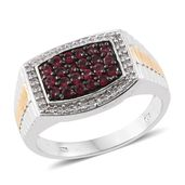 Burmese Red Spinel, Cambodian Zircon 14K YG and Platinum Over Sterling Silver Men's Ring (Size 13.0) TGW 1.34 cts.