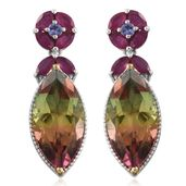 Rainbow Genesis Quartz, Niassa Ruby, Tanzanite 14K YG and Platinum Over Sterling Silver Earrings TGW 19.95 cts.