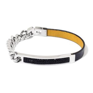 Black Austrian Crystal Faux Leather and Stainless Steel Bracelet (8.00 In)