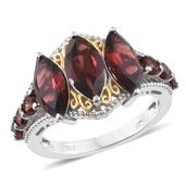 Mozambique Garnet 14K YG and Platinum Over Sterling Silver Ring (Size 6.0) TGW 7.15 cts.