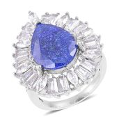 Simulated Blue and White Diamond Stainless Steel Ring (Size 7.0) TGW 10.00 cts.