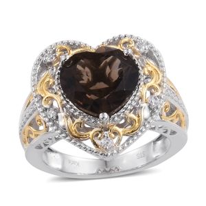 One Time Only Brazilian Smoky Quartz, Cambodian Zircon ION Plated 18K YG and Platinum Bond Brass Heart Ring (Size 5.0) TGW 5.85 cts.