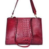 Red Crocodile Skin Embossed Faux Leather Structure Bag with Removable Straps and Standing Studs (14x5x10.5 in)