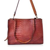 Tan Crocodile Skin Embossed Faux Leather Satchel Bag (13.5x5.4x10 in)