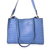 Classic Blue Crocodile Skin Embossed Faux Leather Structure Bag with Removable Straps and Standing Studs (14x5x10.5 in)
