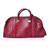 Red Crocodile Skin Embossed Faux Leather Doctoral Bag with Removable Strap and Standing Studs (16x6x8 in)
