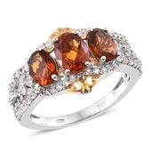 Santa Ana Madeira Citrine, Cambodian Zircon 14K YG and Platinum Over Sterling Silver Ring (Size 7.0) TGW 3.39 cts.